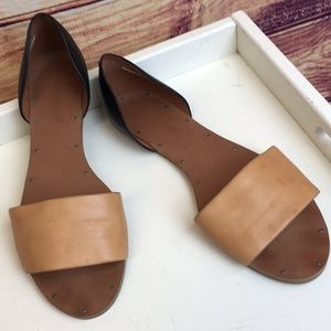 Madewell Tan Black Leather Flats / Sandals